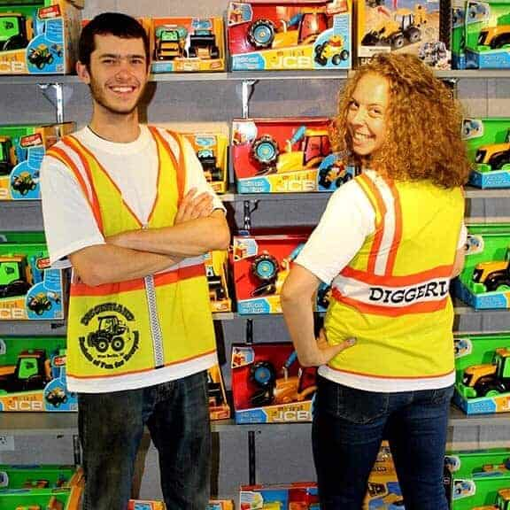 Man and woman wearing cloth t-shirt construction vest