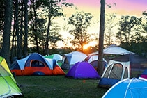 Morning sunrise at a Diggerland camp out with tents