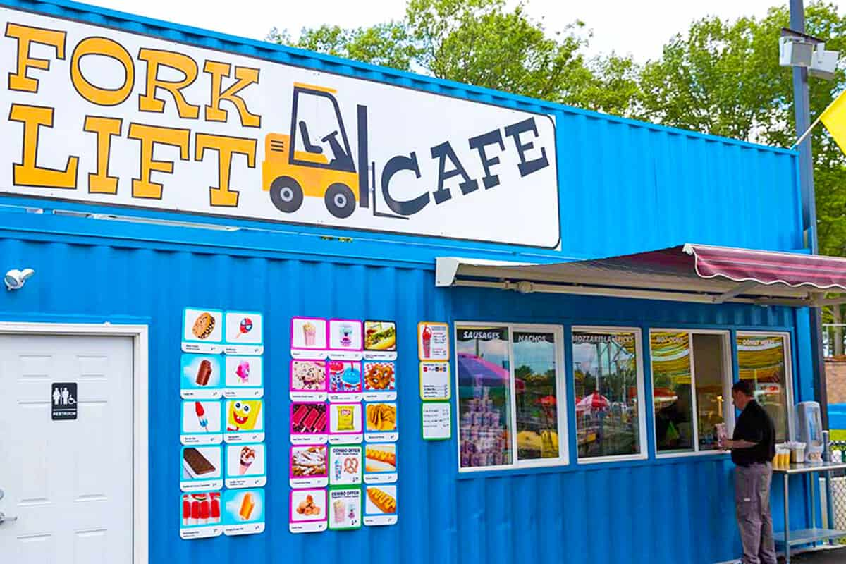 Front of Fork Lift Cafe with person ordering