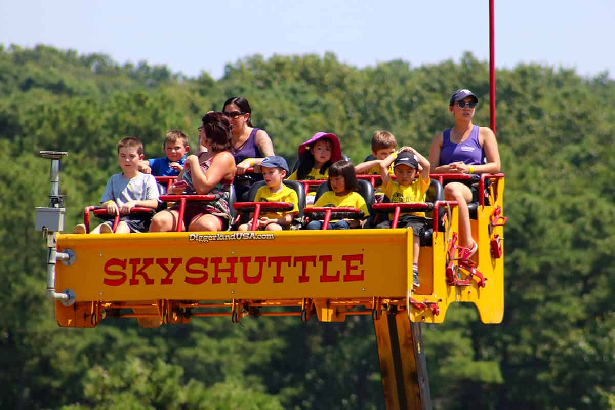 Group of people in the air on Skyshuttle