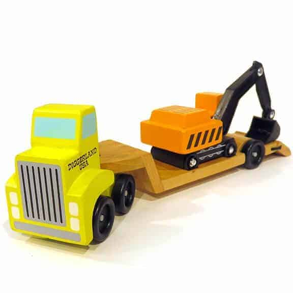 Diggerland truck with bed and excavator on bed back